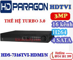 Đầu 16 kênh 3MP HDPARAGON HDS-7316TVI-HDMI/N, 4 SATA