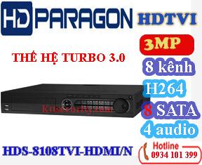 Đầu ghi 8 kênh hdparagon HDS-8108TVI-HDMI/N, 8 SATA