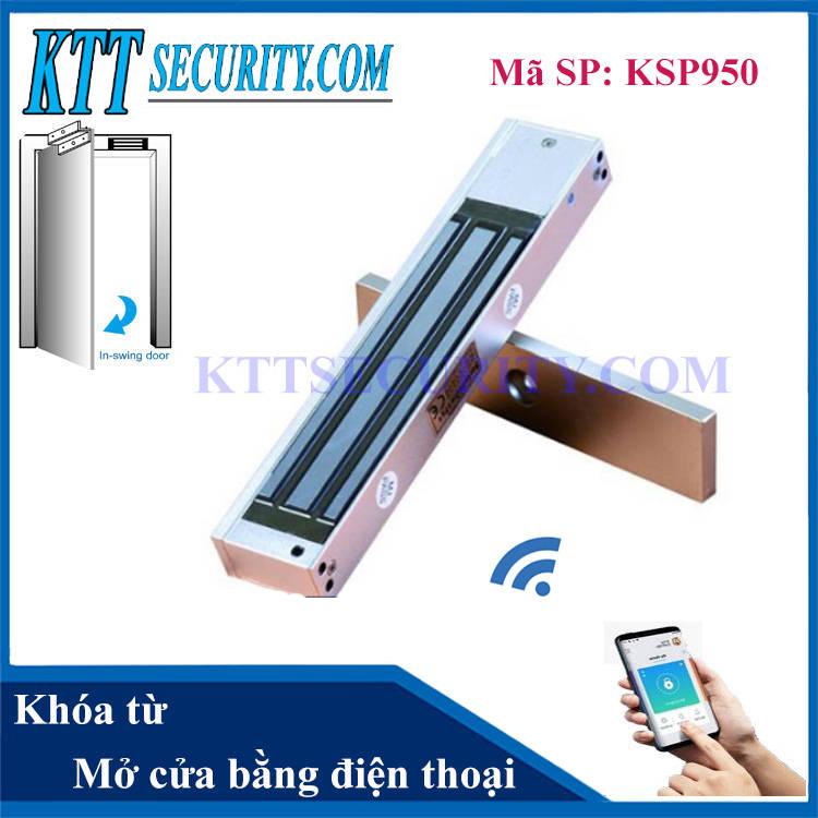 Khóa từ cửa gỗ mở cửa bằng điện thoại   KSP950