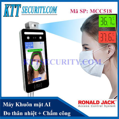 Máy Chấm công Khuôn mặt AI đo Thân nhiệt   MCC518