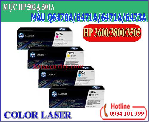 Mực HP laser màu 502A-501A[Q6470A-Q6471A-Q6472A-Q6473A]dùng cho máy HP 3505/3800/3600