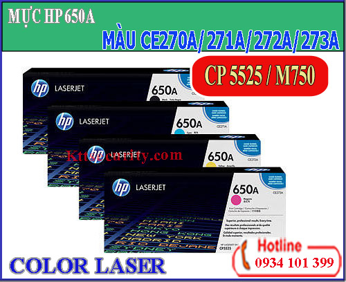 Mực laser màu 650A[CE270A-CE271A-CE272A-CE273A]dùng cho máy CP5525