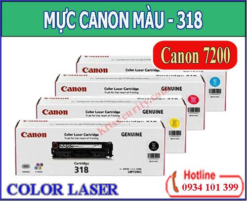 Mực màu laser Canon 318(Đen,Xanh,Vàng,Đỏ)dùng cho LBP7200