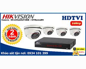 Trọn bộ Camera Hikvision 2mp DS-2CE56D0T-IRM+Dahua-XVR5104HS