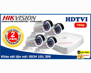 Trọn bộ Camera Hikvision DS-2CE16C0T-IR+Dahua-XVR4104C